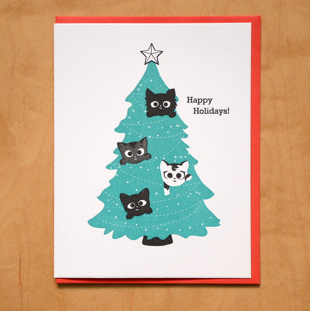 Holiday Boxed Set: Kittens in Tree | McBitterson\'s - Letterpress ...