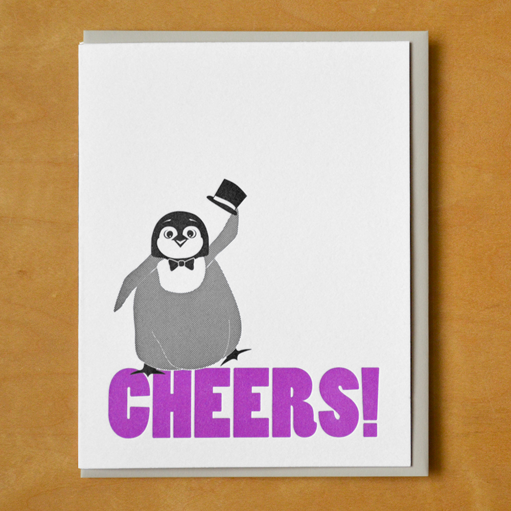 Cheers Penguin Mcbittersons Letterpress Greeting Cards