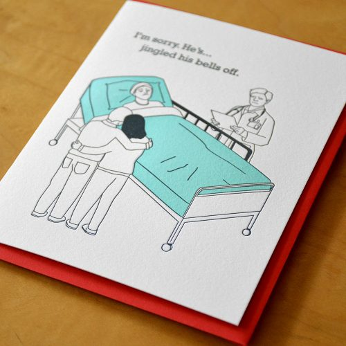 Funny Holiday Letterpress Cards - Jingle Bells Off