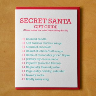Secret Santa Guide Letterpress Card