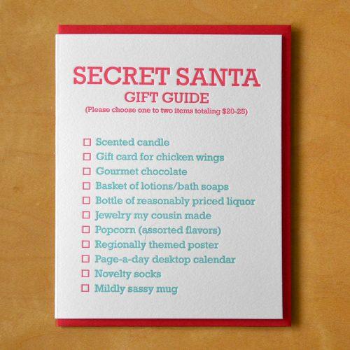 Secret Santa Guide Letterpress Card