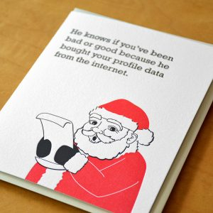 Santa Bought Your Data Letterpress Card