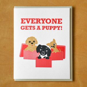 Holiday Boxed: Everyone Gets A Puppy Letterpress Card