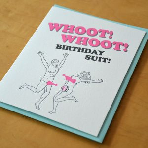 Whoot Birthday Suit Letterpress Card