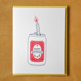 Birthday Beer Can Letterpress Card